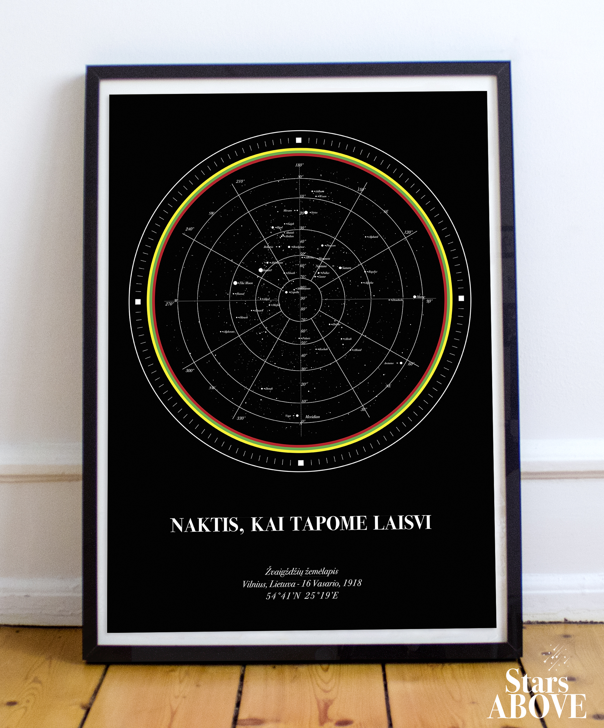 Star Map Dedicated To 100 Years Birthday Of Lithuania